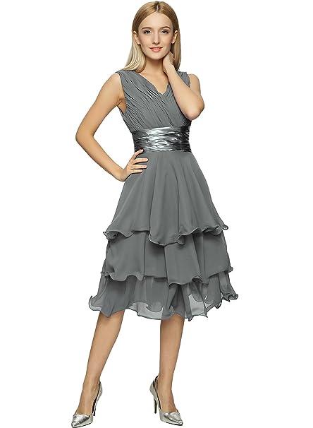 ASVOGUE Mujer Vestido de Fiesta Simple Asimétrico sin Mangas Cuello en V, Gris XXXXL