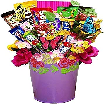Springtime Candy And Chocolate Bar Bouquet Gift Basket Perfect Mothers Day Moms Birthday Or
