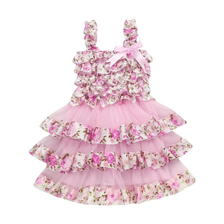 9912d8006 Zolimx Verano Niños Niñas Encaje Gasa Floral Corsés Vestido de Princesa  Para 1-6 años