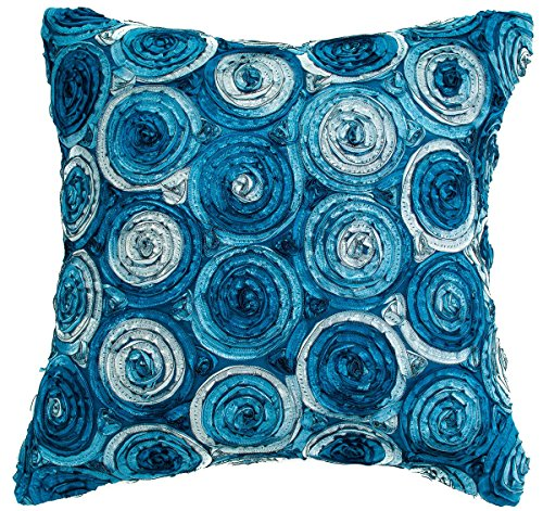 Avarada Triple Colour Floral Bouquet Decorative Throw Pillow Covers Case Cushion Cover 16x16 inch for Sofa Couch Chair Bed Back Zipper Insert Not Included Handmade Quality Blue Jeans by Avarada