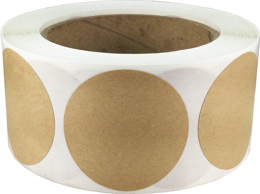 Marrone Kraft Cerchio Punto Adesivi, 51 mm 2 Pollici Rotondo, 500 Etichette su Rotolo InStockLabels.com