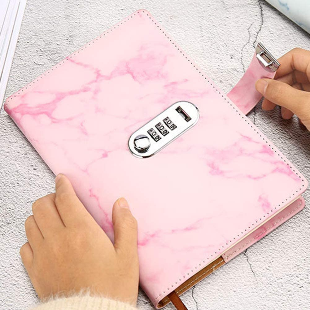 Note Book,Hardcover Notebooks A5 PU Leather Notebooks,100 Sheet A5 Diary Note Book with Code Lock for Writing Journal Security Diary with Lock for School Student