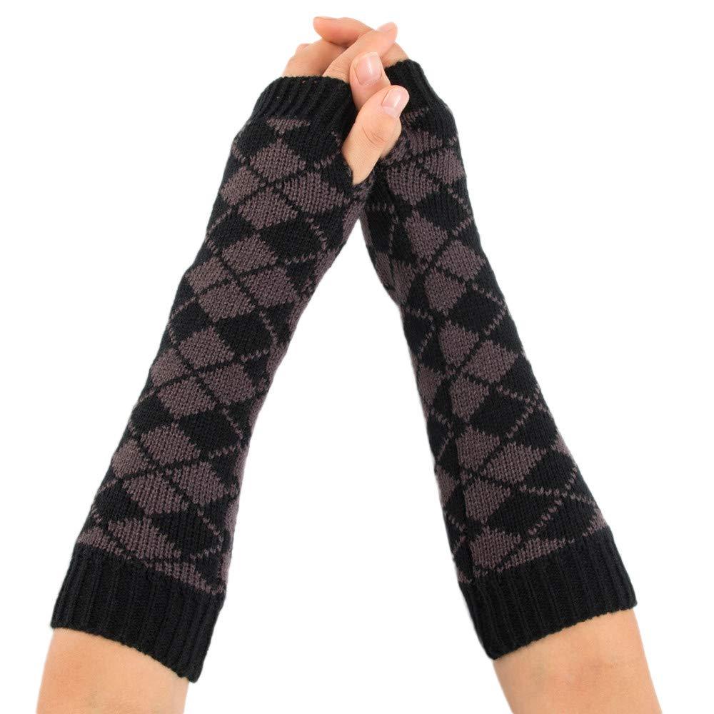 Arm Warmer For Women MALLOOM Ladies Winter Rhombus Stretchy Knitted Long Fingerless Gloves Mitten