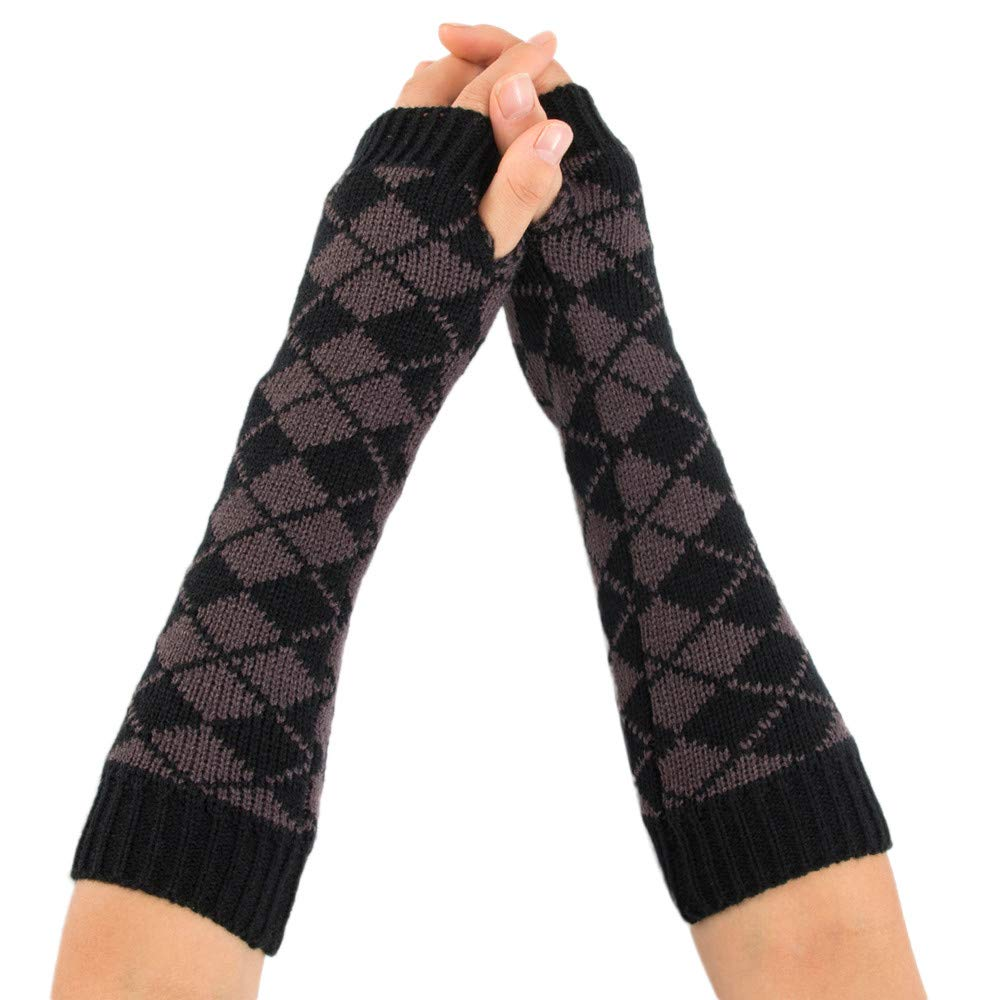MaxFox Women's Winter Knitting Wool Arm Warmer Rhombus Print Protect Wrist Fingerless Gloves Mitten for Exercise Riding (Gray)