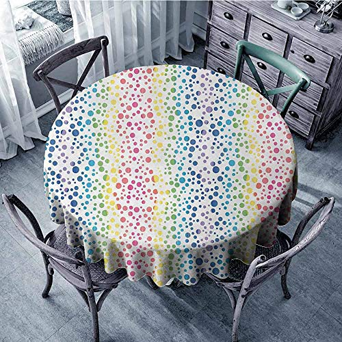 ScottDecor Camping Round Tablecloth Modern,Rainbow Colored Ombre Bubbles and Rounds Circles in Wavy Shape Line Art Print Image,Multicolor Dinning Tabletop Decoration Diameter 50