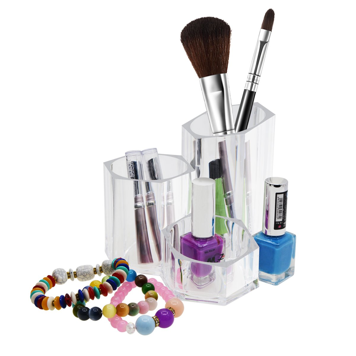 Saim Home Acrylic Vanity Organizer Storage with Trio Cup Perfect for Makeup Brushes Beauty Products Office Supplies
