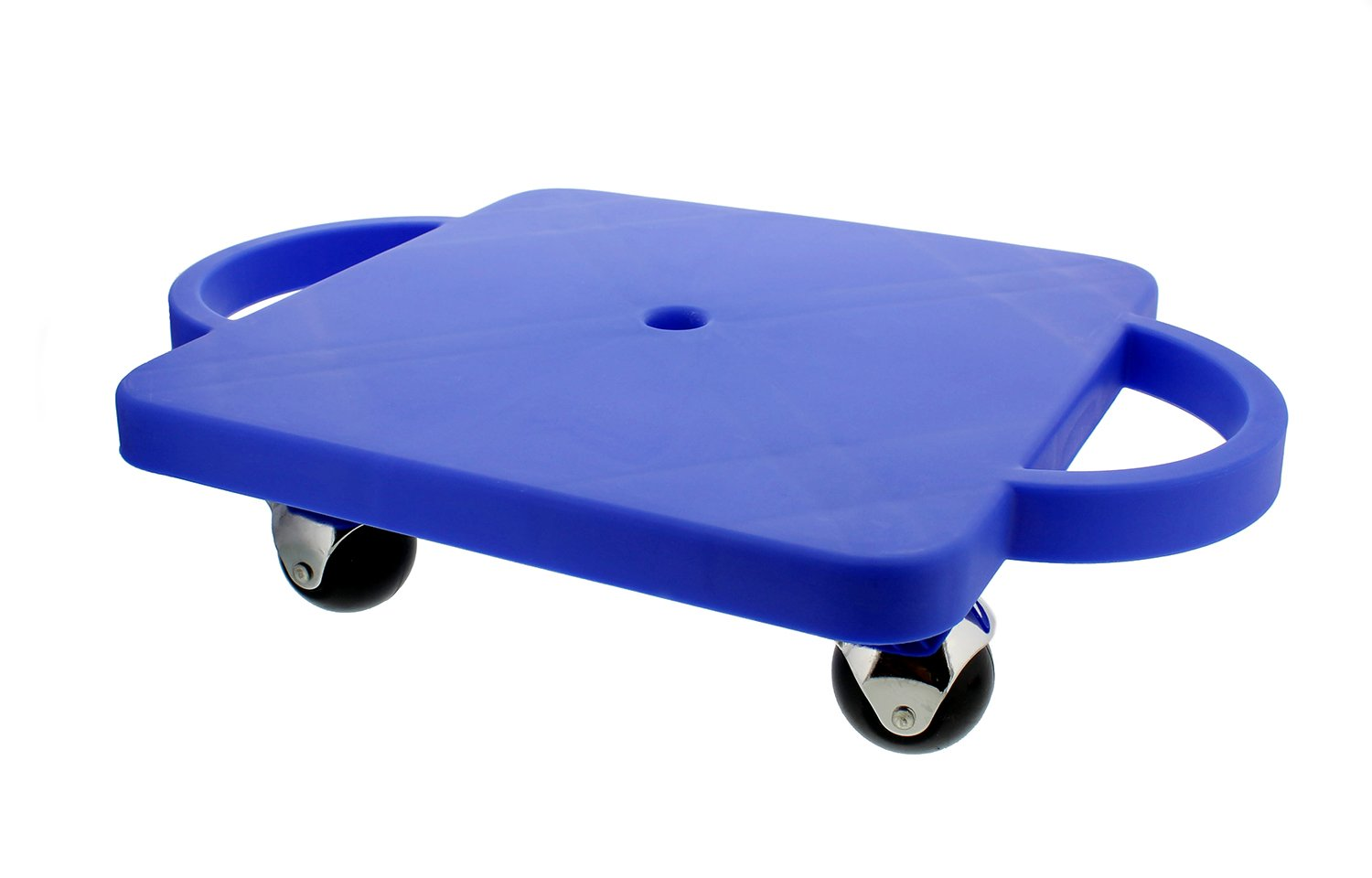 Get Out! Plastic Scooter Board in Blue, Wide Handles, 12in x 12in - Gym Class Manual Scooter Board for Kids by Get Out!