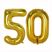 40inch Gold Foil 50 Helium Jumbo Digital Number Balloons, 50th Birthday Decoration for Women or Men, 50 Year Old Birthday Party Supplies
