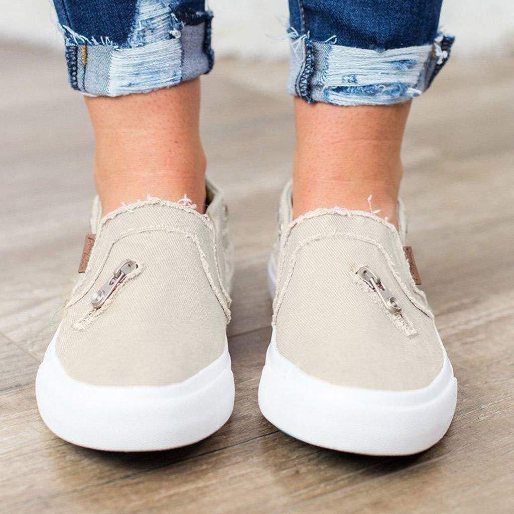 Damen Segeltuchschuhe Flache Schuhe LeeMon Frauen Erbsen Schuhe Sommer Flach Mit Bunten L/ässig Einzelne Schuhe Rei/ßverschluss Strandschuhe