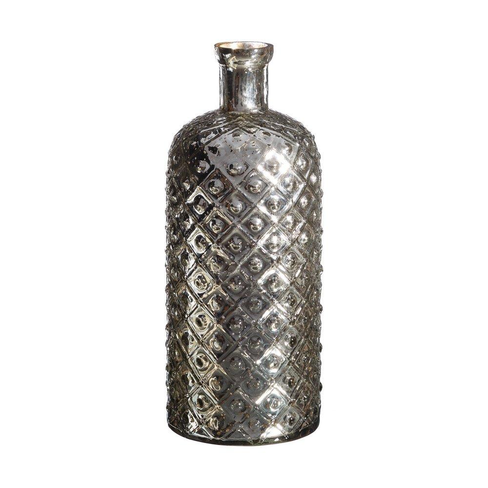 Jarrón Botella de Cristal Plateado Vintage para salón Factory - LOLAhome: Amazon.es: Hogar