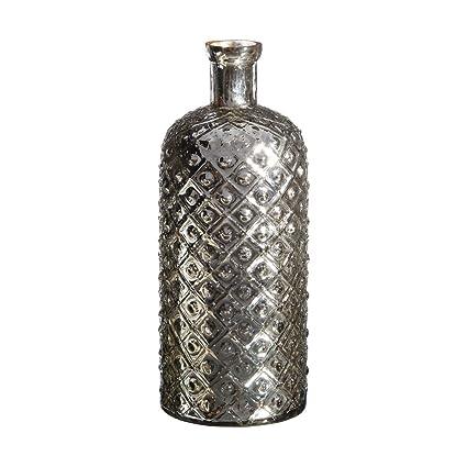 Jarrón Botella de Cristal Plateado Vintage para salón Factory - LOLAhome