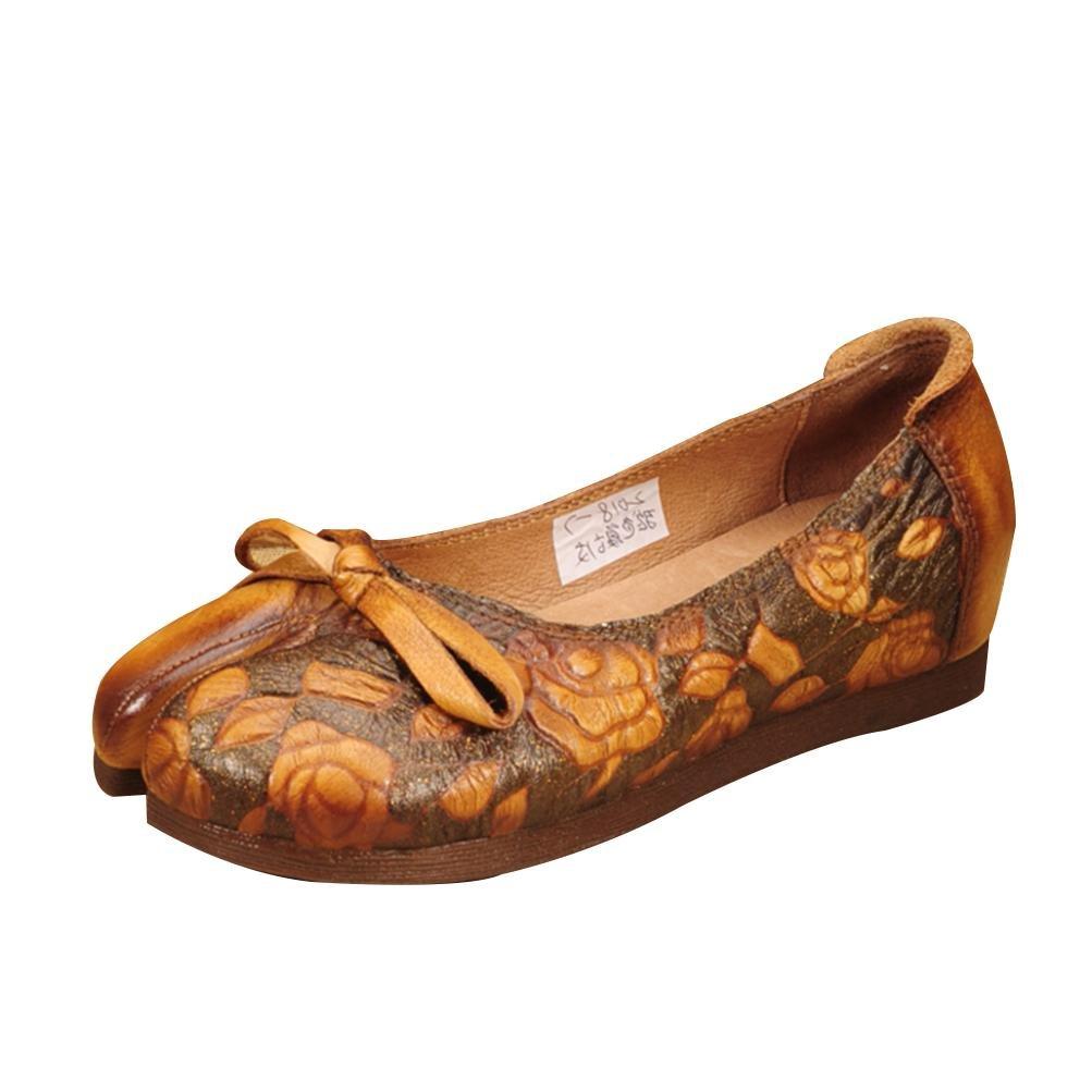 QPYC Damen Original Erstellen Handarbeit Aus Echtem Leder Schuhe Freizeit Flache Mit Retro Einzelnen Schuhe Rinds Quadratischen Kopf Flache Stiefel , Gelb , 40