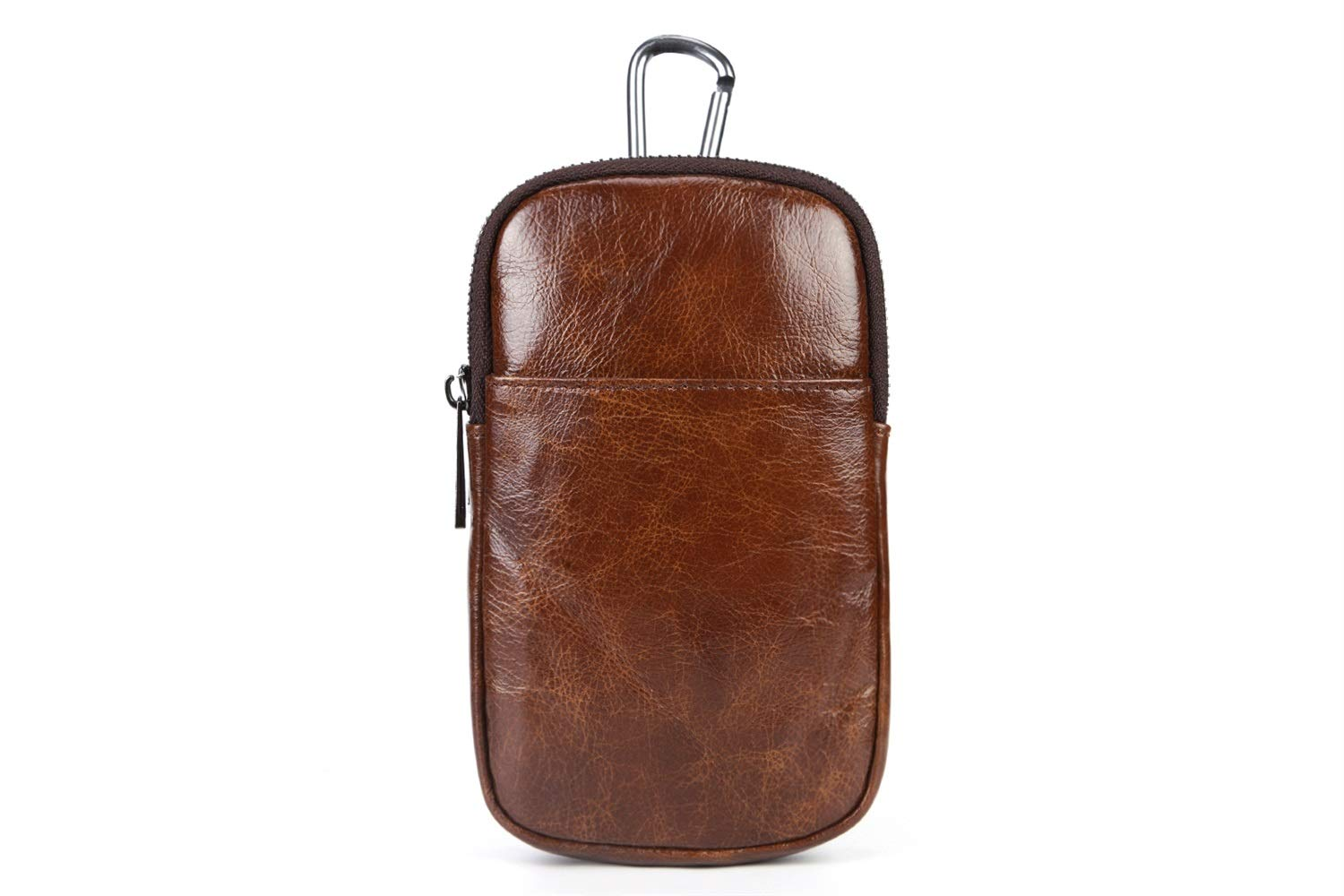 Mobile Phone Bag 2018 New Mens Pockets Double-Layer Main Bag GROSSARTIG First Layer Cowhide Hanging Neck Bag Color : Brown, Size : S