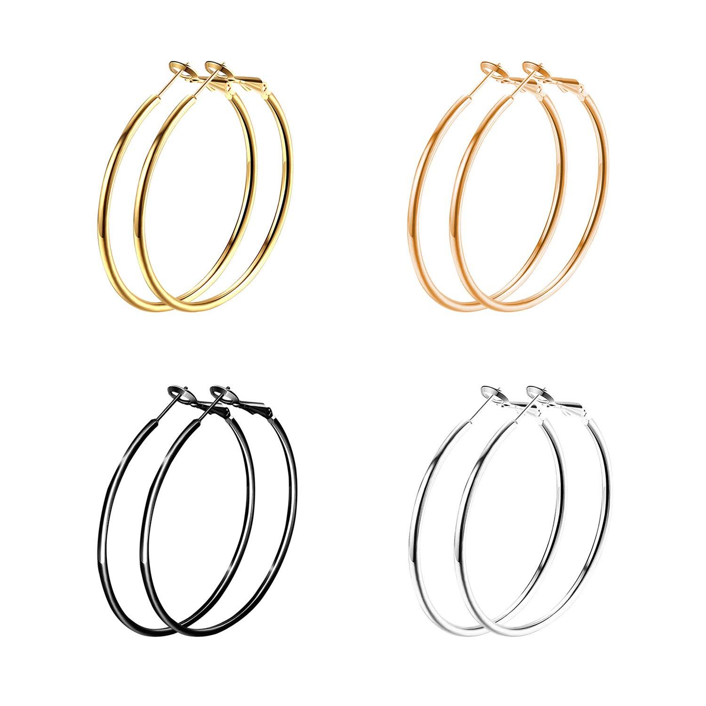 Stainless Steel Big Hoop Earrings Hypoallergenic for Women Girl Sensitive Ears, 4 Pairs a Set Eymi EPL0054-30