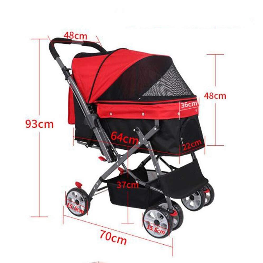 Red Pet Stroller Cat Dog Basket Zipper Entry Fold Cup Holder Carrier Cart Wheels (color   Red)