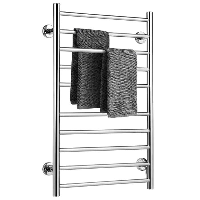 "Tangkula Towel Warmer, Home Bathroom 10 Bar Stainless Steel Space Saving Plug-in Wall Mounted Cloth Towel Heated Drying Rack (20"" W x 31.5"" H)"
