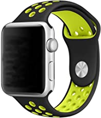 Correa Deportiva Extensible Sport Banda Silicon de Uso Rudo para Apple Watch 38mm 42mm Generico iwatch serie 1 2 3 nike (NEGRO/VERDE, 42MM)