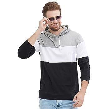 LEWEL Color Block Mens Hooded Multicolor T-Shirt