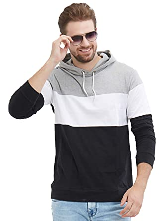 8ca47d2ca LEWEL Men's Full Sleeve Grey, White, Black Hooded T-Shirt (100 ...