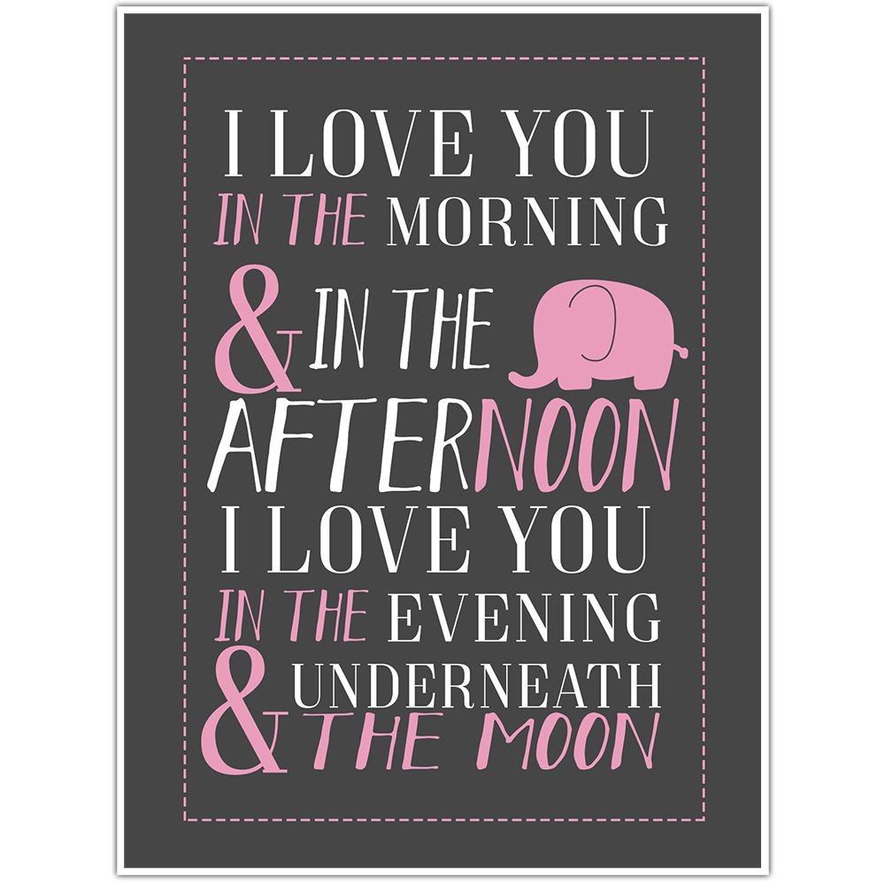 I Love You In The Morning Pink Wall Art