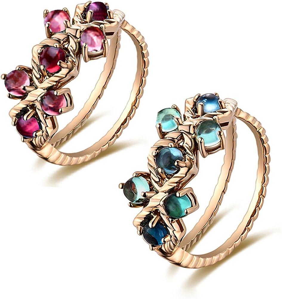 Raro Naturales Turmalina Piedra preciosa Diamante 14K Oro rosa Boda Compromiso Moda Anillo para Mujer