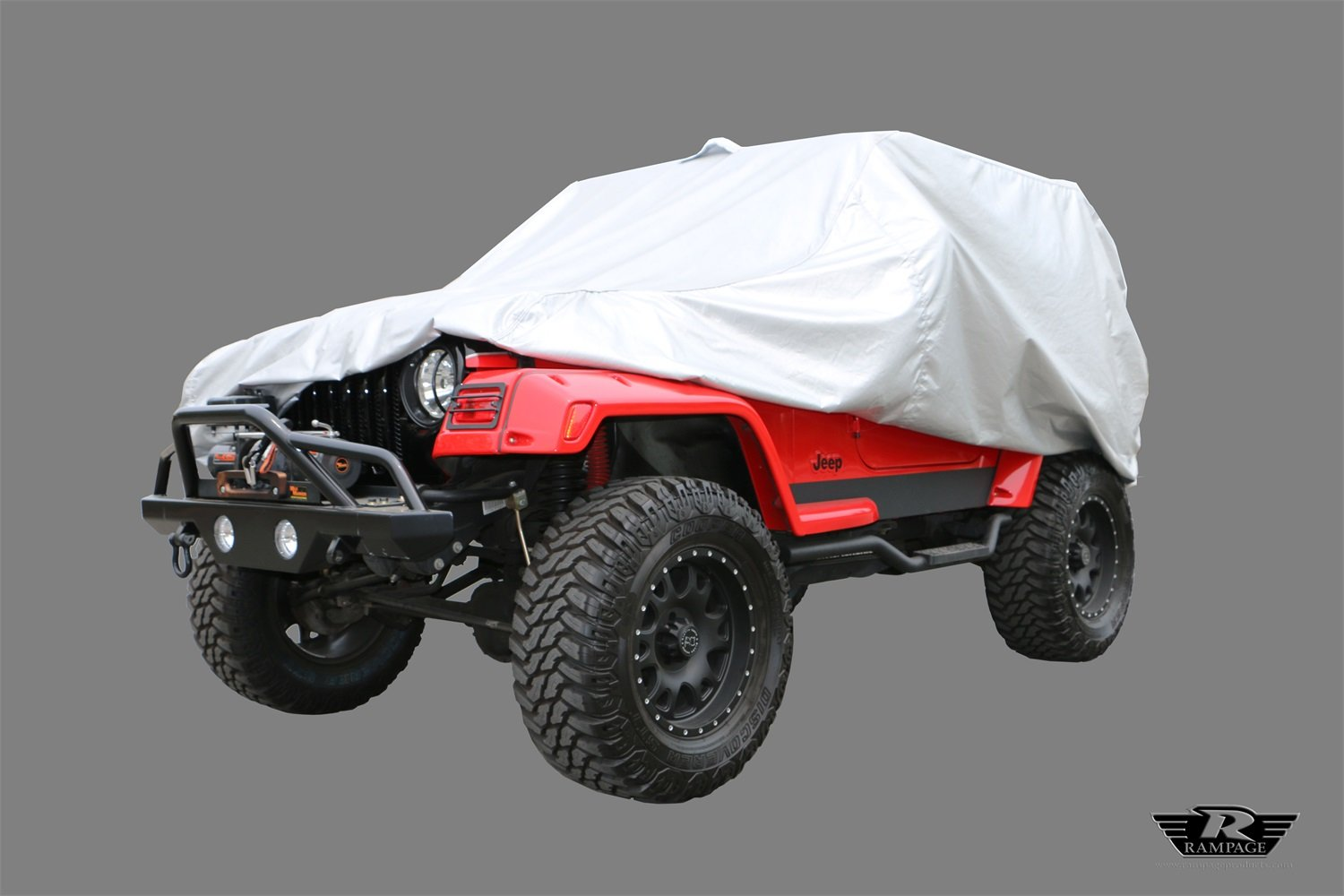 Rampage Products 2201R Silver Multiguard All Weather'Rain or Shine' Custom Vehicle Covers (includes lock, cable and storage bag) for 1976-2006 Jeep YJ/TJ