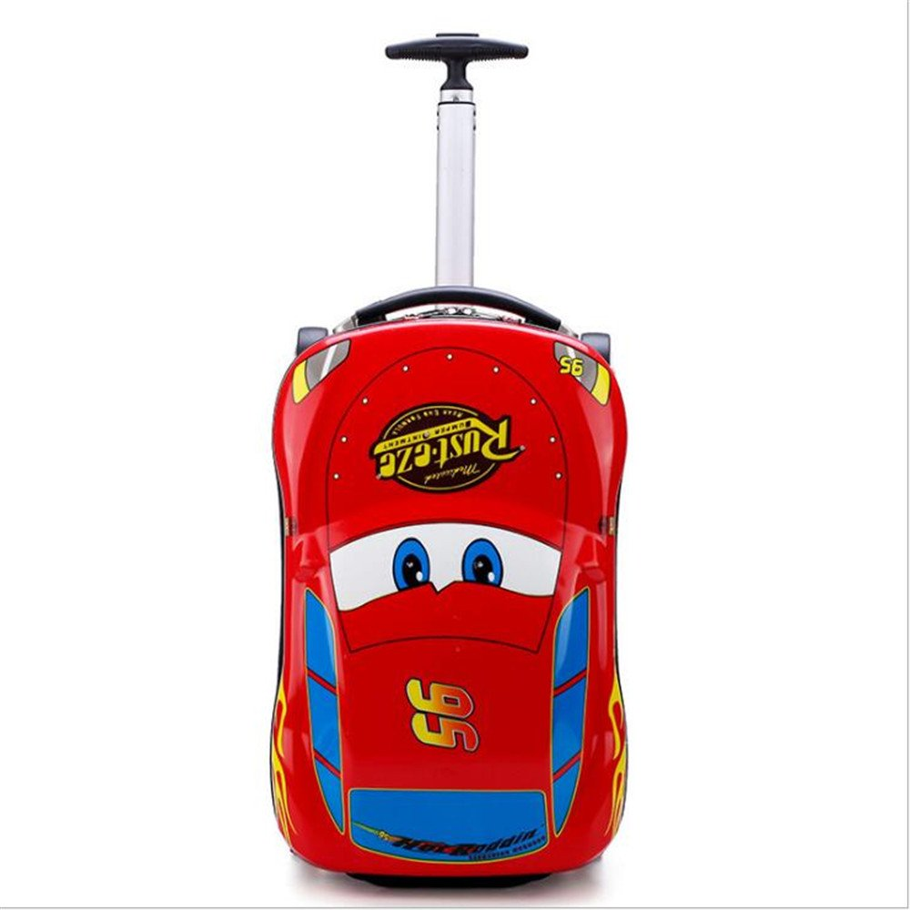 Kids Cars Suitcase Travel Luggage 3D Stereo Pull Rolling Cartoon Pencil Box Children COOL Gift Boarding Box (red)