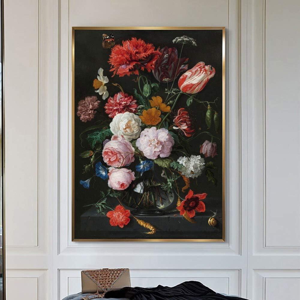 Geiqianjiumai Mural Vintage Europeo sobre Lienzo decoración de la Pared bodegón con Flores y Estampados en jarrón de Vidrio nórdico póster de Arte Pintura sin Marco 30x45cm