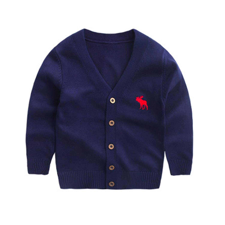 Wnitefg Little Boys Girls Falls Spring Stylish Deer Logo Solid Color Woolen Warm Cardigan Sweater