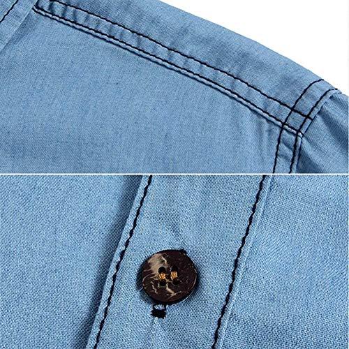 Giacche Bottoni Jeans A Semplice Jeans Di 1 Stile Manica Da Giacca Uomo Con Capispalla In Denim Risvolto Hellblau Retro Lanceyy Lunga Cappotto xPBUvwHqx