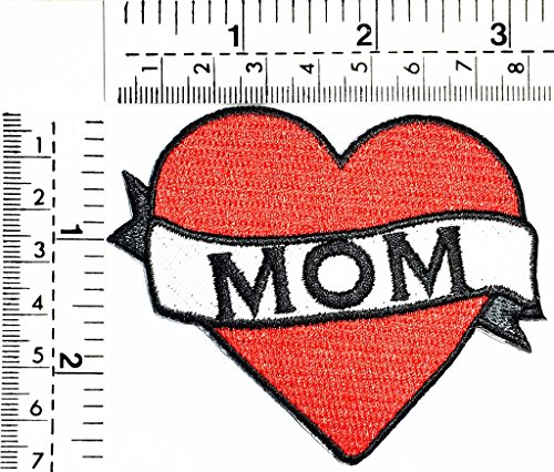 Mom red Heart Love Mom Day kids cartoon patch Applique for Clothes Great as happy birthday gift