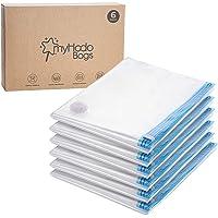 myHodo dammsugarpåse XXL 6 stycken (80 x 120 cm) dammsugarpåsar för täcken Dammsugarpåsar för kläder för förvaring av…