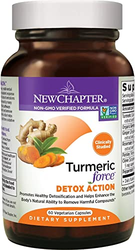 New Chapter Turmeric Supplement Daily Detox – Turmeric Force Detox Action with Green Tea Ginger NO Black Pepper Needed Non-GMO Ingredients – 60 Vegetarian Capsule