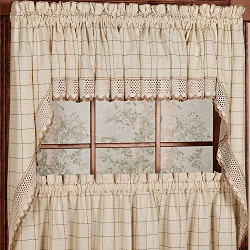 LHF Adirondack Cotton Kitchen Window Curtains - Toast - 38