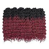 (6Packs) 22inch Curly Faux Locs Soft Hair Twist Braids Crochet Braiding Hair Braids Mambo Hair Extension 24Roots/Pack (22inch, Ombre 1B/BG)
