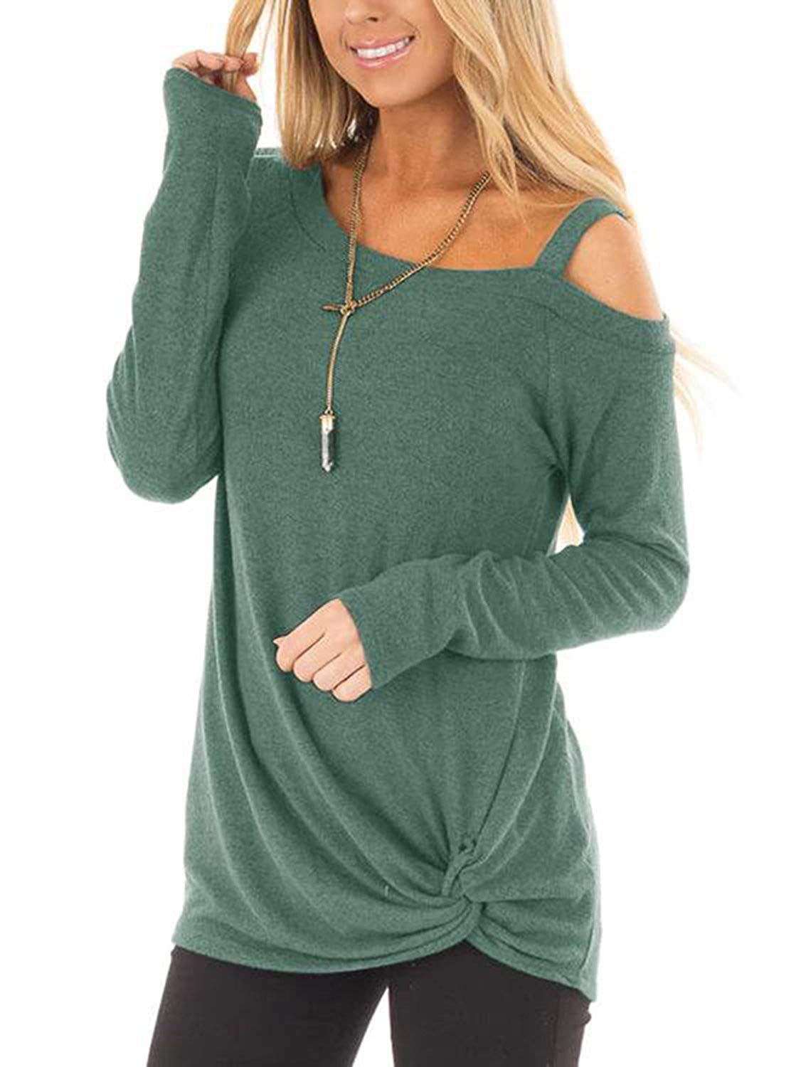 ANDUUNI Women's Loose Cold Shoulder T Shirt Casual Knot Front Long Sleeve Tunic Tops Blouse (Green, S) by ANDUUNI