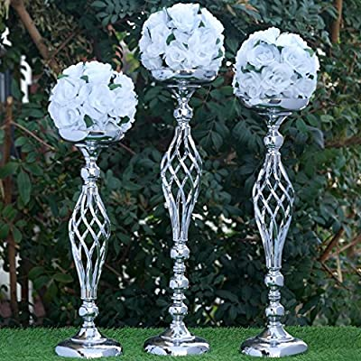 "Tableclothsfactory 25.5"" Tall Metal Wedding Flower Decor Candle Holder Vase Centerpiece - Silver-2 Stands/ Set"