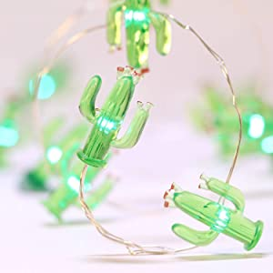 Frienda Cactus String Lights Battery Operated, Mexico Style House Decor 10ft 40LEDs Green Tropical Desert Garden Plant Fairy Lights for Summer Beach Home Bedroom Indoor Outdoor Decorations