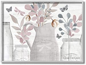 Stupell Industries Flower Jar Pink Blue Grey Neutral Painting Prints, 16 x 20, multi-color