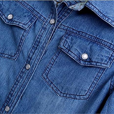c73bfb85a Culater® Camisa De Mezclilla De Las Mujeres Ocasionales De La Manga Larga  De La Vendimia Azul Encabeza Blusa (XS)