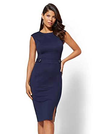 c24553f8f6d Amazon.com  New York   Co. Women s 7Th Avenue - Button-Accent Ponte Sheath  Dress  Clothing