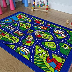 Kids / Baby Room / Daycare / Classroom / Playroom Area Rug Blue City Roads Map Train Tracks Cars Play Mat Fun Educational Non-Slip Gel Back. (8 Feet X 10 Feet)