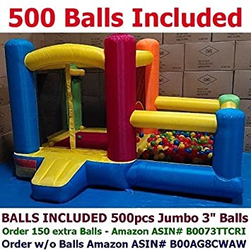 My Bouncer Little Castle 88' L x 118' W x 72' H Bounce House Bopper w/ Built-in Ball Pit; Hoop & Step ( Required Minimum 500 pcs Jumbo 3' Balls, Large Floor Space Required !!! )