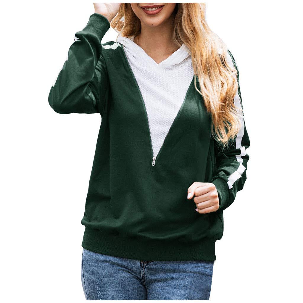 YANG-YI Casual Blouse Ladies Autumn Women Stripe Long Sleeve Hoodie Sweatshirt Pullover Shirt Green by YANG-YI