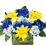 Yellow Dahlia with Blue Hydranges and Rose Sale