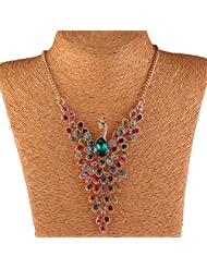 Qiyun Colorful Peacock Bird Rhinestone Beaded Wing Gold Y Bib Collar Necklace Paon Colore Aile D'Oiseau Or Y Collier