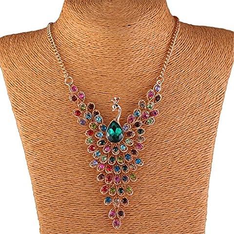 Colorful Peacock Bird Rhinestone Beaded Wing 18K Gold Y Bib Collar Necklace - Oro Collana In Rilievo