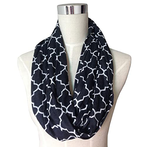 Pop Fashion Women's Black Infinity Scarf w/ Zipper Pocket & Pattern, Infinity Scarves