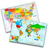 Kappa Wall Map Set -- Giant United States and World Map Posters for Home/School/Office (2 Pack, 40