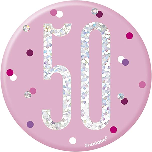 Age 50 Unique Party 83534 83534-3 Glitz Pink /& Silver 50th Birthday Badge Pink